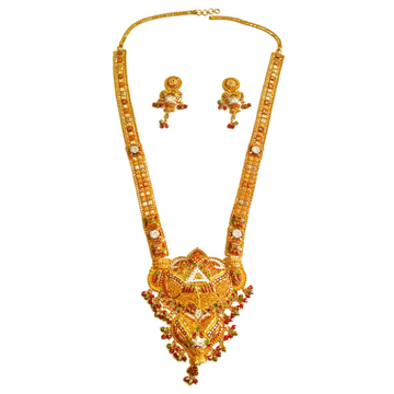 22k Gold CZ Diamond Kalkatti Designer Long Necklace Set MGA - GLS037