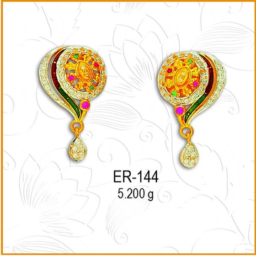 916 Gold CZ Circle Two Layer Fancy Earring ER-144