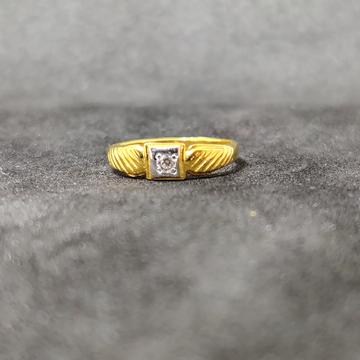 22K Kids Wear Fancy Plain Gold Ring-24503