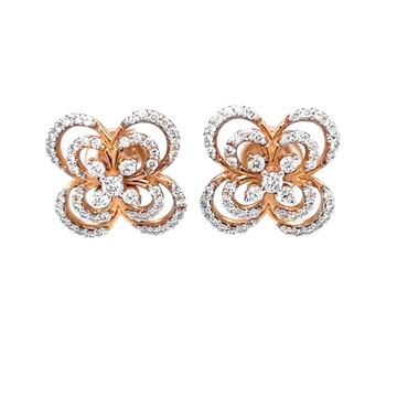 Alyssum Flower Inspired Diamond Earrings in 18k Ro...