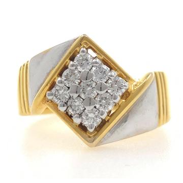 18kt yellow gold classic handmade kite shaped diamond gents ring 7gr67