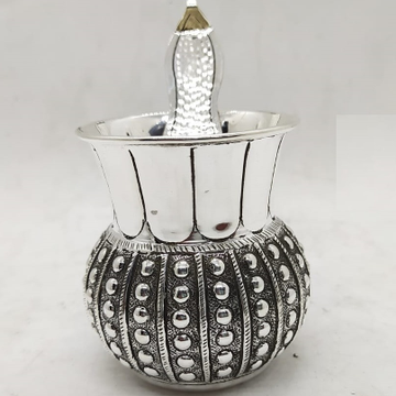 925 Pure Silver Ghee Dani with Spoon and Lid by Puran Ornaments