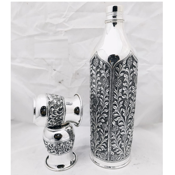 92.5 pure silver bottle and Glasses Set in fine an... by Puran Ornaments