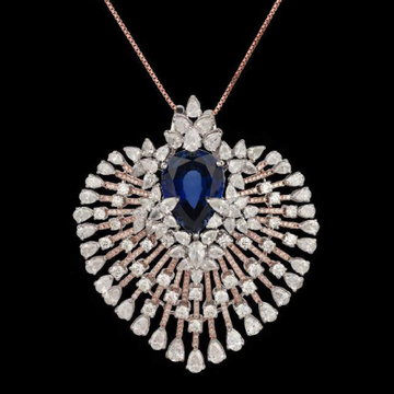 Diamonds and Blue Sapphires PendentJSJ0054