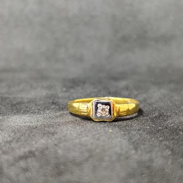 916 Kids Wear Single Stone Gold Ring -24504