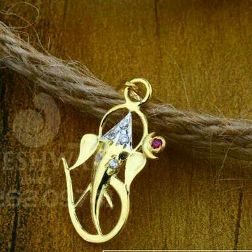 18kt Gold Fancy Cz Ganpati Pendant