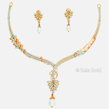 22KT CZ Gold Delicate Diamond Necklace Set