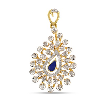 22kt gold, diamond and colored stone drop shaped pendant for women jkp005