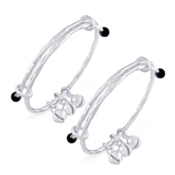silver 925 sterling silver bell ending baby bangle for kids RJ-S9B06
