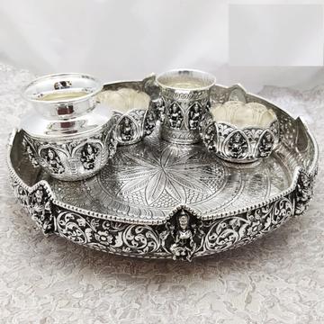 925 Pure Silver Antique Pooja Thali set PO-263-32 by Puran Ornaments