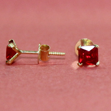 18KT Gold Red Color stone Square Casual wear Earri... by