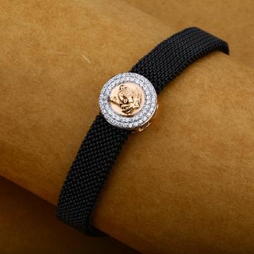 Mens 18K Roae Gold Versace Leather Bracelet-MLB14
