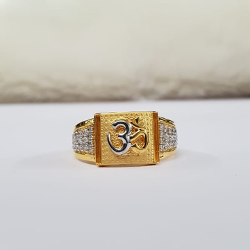 22kt gold four line cz dull police