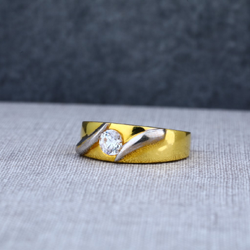 Mens Designer 916 Single Stone Gold Ring-MSR04