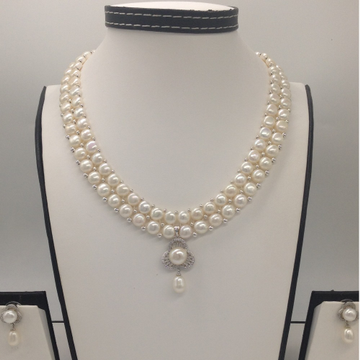 WhiteCZ And Pearl PendentSet With 2Line ButtonJali Pearls Mala JPS0377