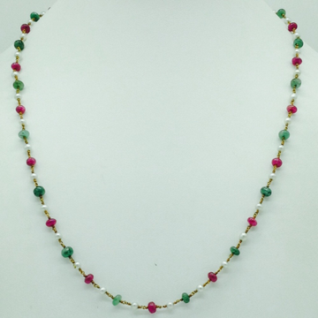 White round pearls with ruby and emeralds gold taa...
