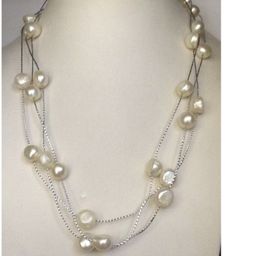 Freshwater White Button Pearls Long White Chain Ma...