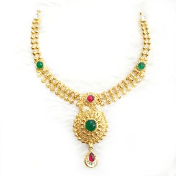 916 gold antique necklace set mga - gn005