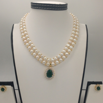 White And GreenCZ PendentSet With 2Line ButtonJali Pearls Mala JPS0391