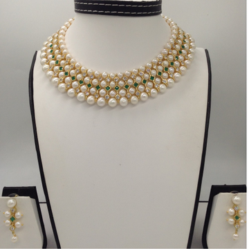 Freshwater White Round Pearls And White, Green CZ...