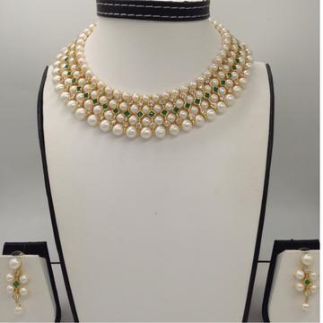 Freshwater White Round Pearls And White, Green CZPatti 4 Layers Patta ChokerSet JPP1035