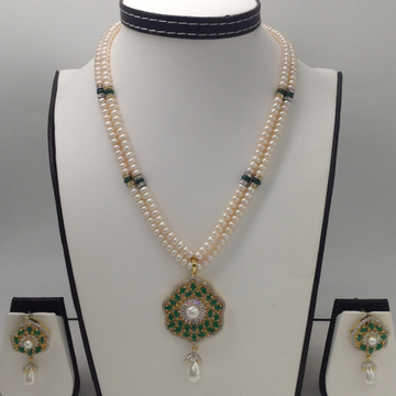 White ,GreenCZ And Pearls PendentSet With 2 Line FlatPearls Mala JPS0279