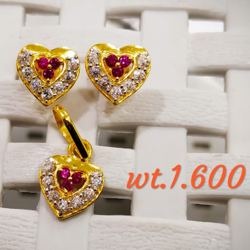 22KT Gold Ruby Heart Stone Pendent butti Set for Women