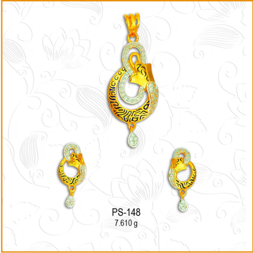 22KT Gold Fancy CZ Pendant Set PS-148
