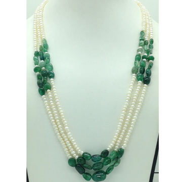 White Flat Pearls with Green Bariels 3 Layers Neck...