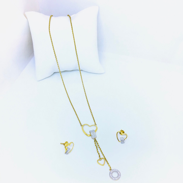 DESIGNING FANCY HEART GOLD CHAIN WITH EARRINGS by