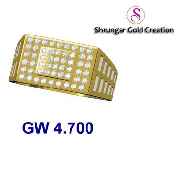 916 Plain Gold Diamond Wedding Gents Ring