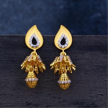 Ladies 22K Gold Diamond Jummar Earrings-LJE118