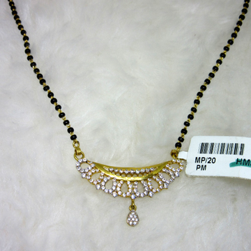 Gold micro diamond mangalsutra with tops
