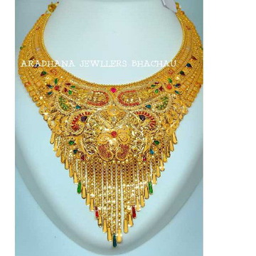 22KT Colorful Stone Yellow Gold Necklace