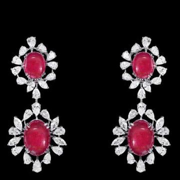 Diamonds and Ruby Ear HangingsJSJ0031