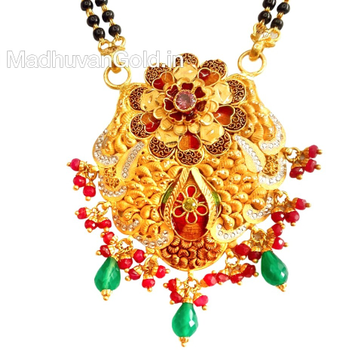 22k gold meenakari flower shape mangalsutra pendant mga - mgp001