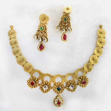 22Kt Gold Antique Wedding necklace Set RHJ-5483