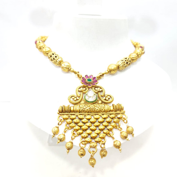 Gold plated antique choker with kundan work necklace set 1434