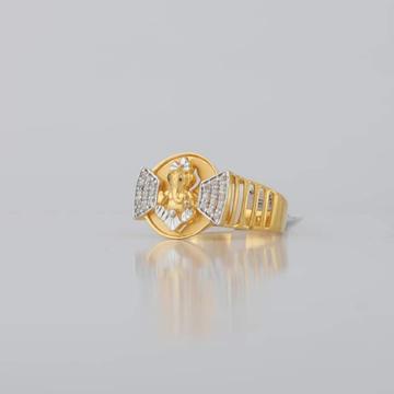 22kt/916 yellow gold ganesh fancy ring for men