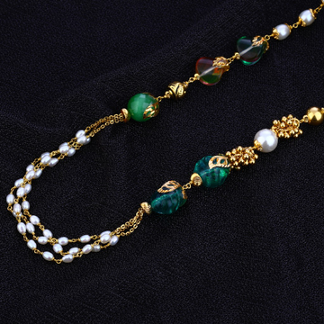 Ladies 916 Gold Colourful Stone Moti Designer Mala-AC122