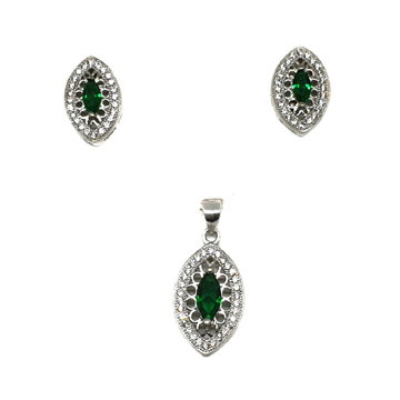 925 Sterling Silver Green Diamond Pendant Set MGA - PTS0024