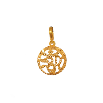 18K Gold Round Shaped Om Pendant MGA - PDG0016
