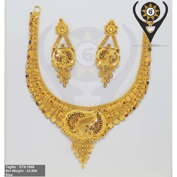 916 Gold Classic Design Hallmark Necklace Set  by Parshwa Jewellers