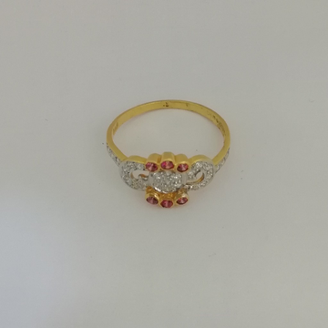 916 gold fancy pink colour stone ladies ring by Vinayak Gold