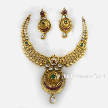 916 Antique Gold Bridal Long Necklace and Earring Set