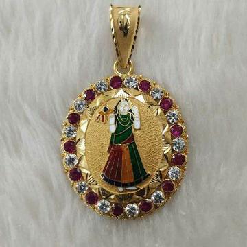 Bhatiyani Ma Minakari Gold Pendant