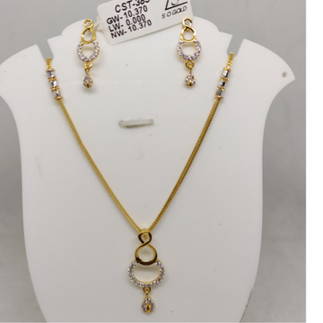 916 CZ Gold Antique Necklace Set SOG-R058 by S. O. Gold Private Limited