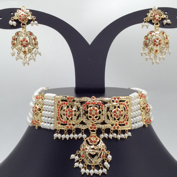 Pearls And Corals Amritsar Choker Set With 6 Line...