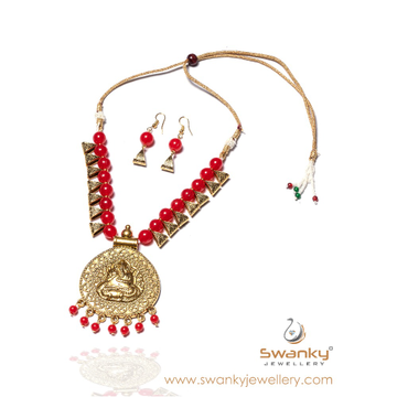 Ganesh design pendant with red beads necklace set... by Swanky Jewellery