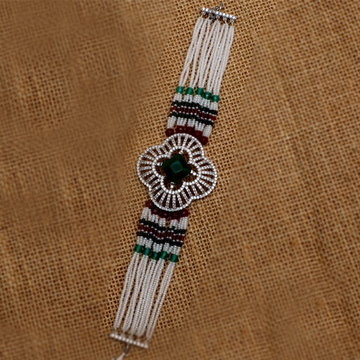 Silver Colorful Moti Bracelet For Women PJ-B008